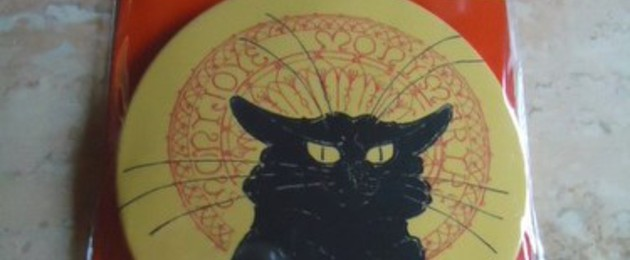 "Mirroir de poche ""Tournée du chat noir"" de Steinlen"
