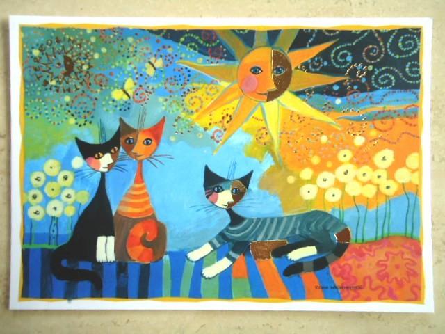 Postkarte Kunstkarte Kunstdruck Katzen Cat Wachtmeister Dolce Vita